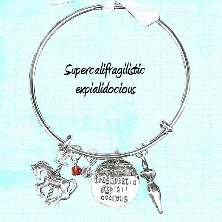 Mary Poppins Charm Bracelet Supercalifragilisticexpialidocious Etsy