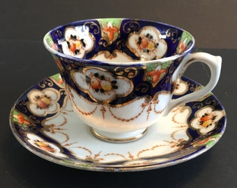 hand painted cobalt blue /& gold with flowers and rust swags no cup Royal Albert Imari style orphan saucer #113  Bone China England