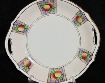 Vintage Nippon Japan Hand Painted Fruit Handled Serving Tray/Plate