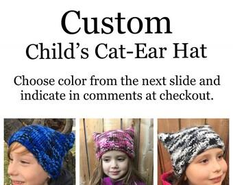 Custom Handmade Childs Cat Ear Hat