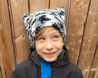 Black and white camouflage cat ear hat