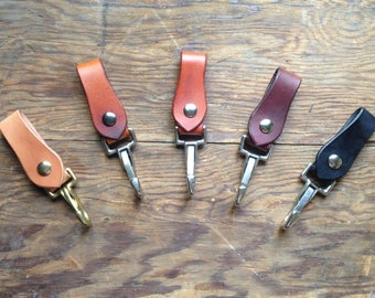 """Handmade Leather Key Holder/ Utility Clip for keychains and belt loops ((( 1"""" wide hardware ))) Hand Cut & Stained"""