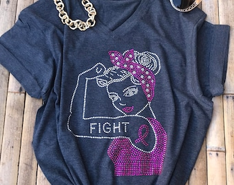 Rosie the Riveter Women Rhinestone T-Shirts Breast Cancer Shirt Pink Fight Cure Mother's Day Gift Workout Shirt Birthday Christmas