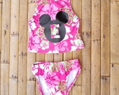 Personalized Mickey Mouse Swimsuits Girls Swimwear Toddler Bathing Suits Two Piece Swimsuits Girls Beach Swimwear Pool Swimsuits