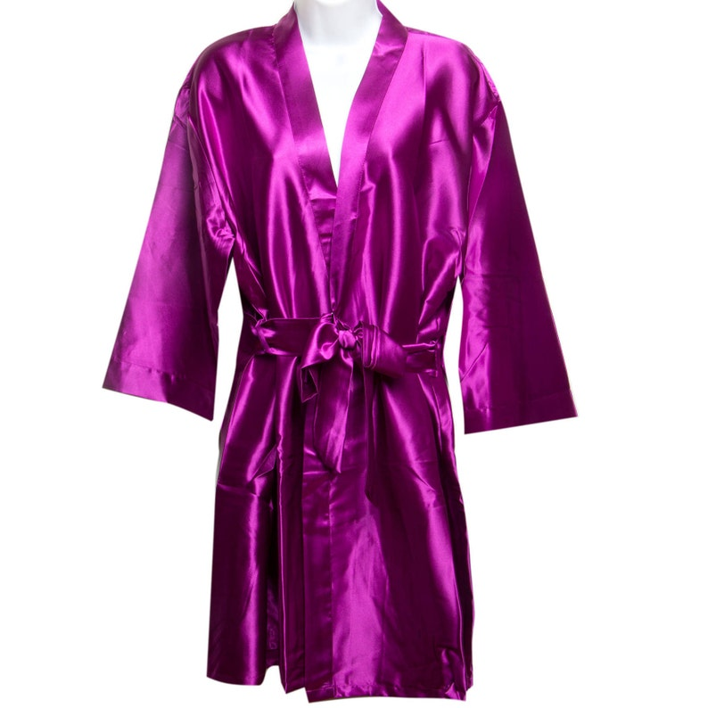 Plum Bridesmaid Robes SATIN Kimono Personalized Bridal Party Robes Wedding Robes Bridesmaid Gifts Bride Robes Mother of the Bride Robes