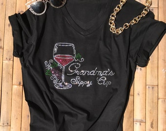 Women Rhinestone T-Shirts Grandma's Sippy Cup Stylish Women Top Funny Women Tee Birthday Gift Christmas Mother's Day Workout Shirt