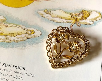 Vintage Heart Brooch with Flowers and Pearls