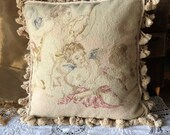 Beautiful Needlepoint Large Pillow with Feather Insert