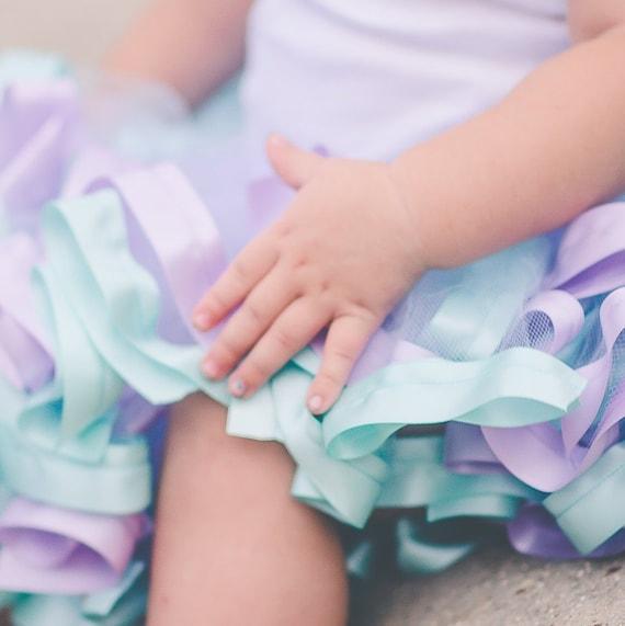 Ribbon edge ruffled girls toddler champagne cake smash photo prop tutu