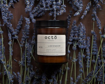French Lavender - Naturally Scented Soy Wax Candle In Amber Glass Jar With Lid (100 % essential oils) . Bougie de lavande naturelle.