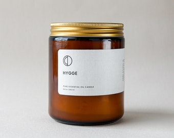 Hygge - Cinnamon, Clove, Nutmeg, Orange, Ginger essential oil candle. soy wax candle in amber jar (bougie à la cannelle) Christmas