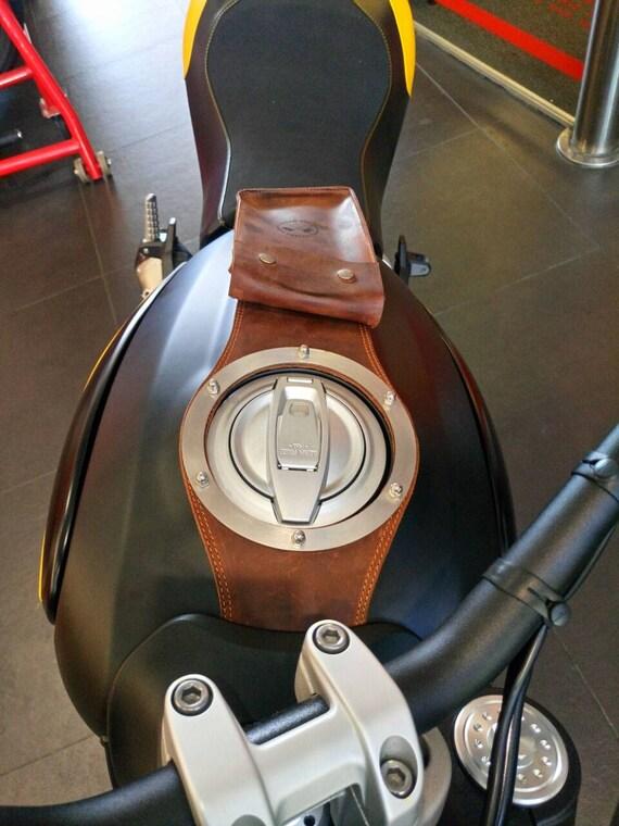 Ducati Scrambler Leather Belt Saddlebag Black Vintage Style for fuel Tank
