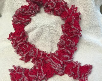 Red ruffled scarf