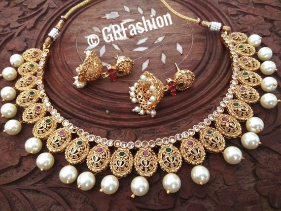 Indian Gold Plated Set Traditional Jewelry Indian Jewelry Etsy