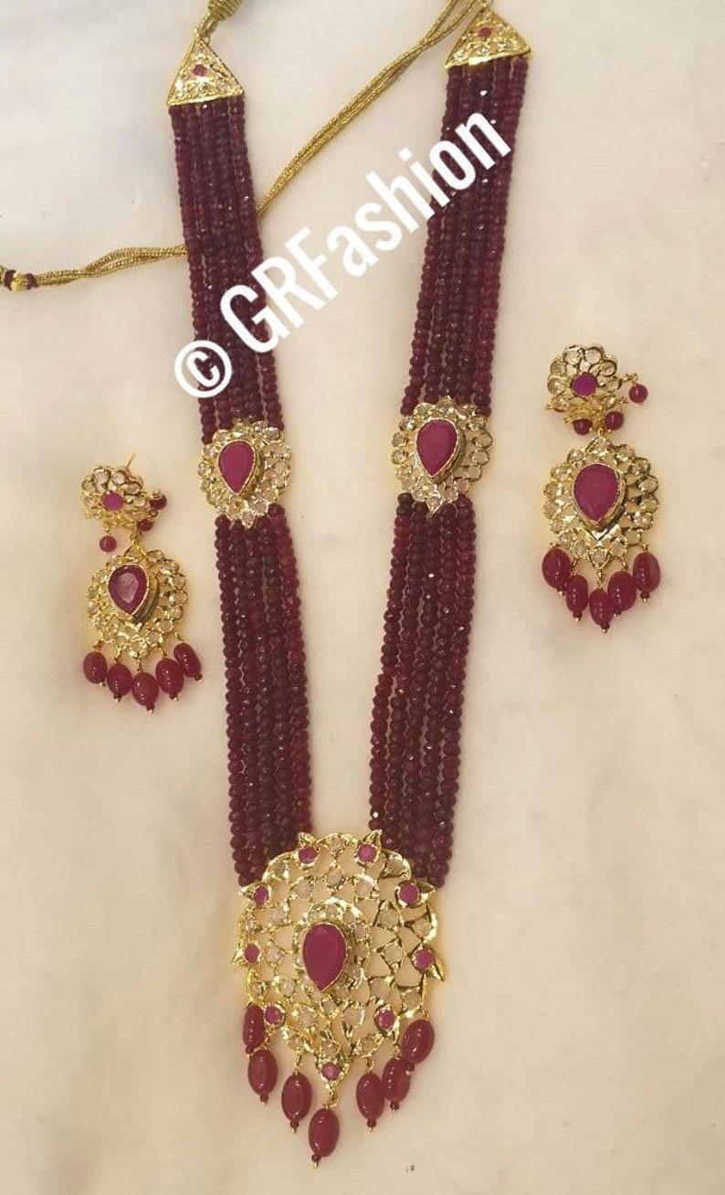 Jadau wedding traditional Hyderabadi Indian jewelry Indian Hyderabadi Jadau ruby onyx beads mala and earrings