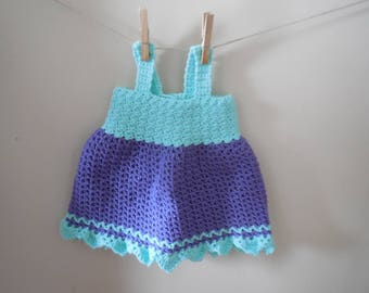 crocheted baby dress ~ purple and teal dress ~ 24 month baby dress ~ 2T baby dress ~ baby girl dress