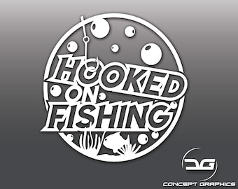 Hooked On Fishing Funny Angling Car Van Window Tackle Box Vinyl Decal Sticker