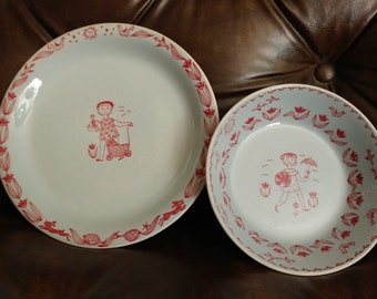 Stavangerflint Norway Child's Bowl & Plate, Vintage Kari Nyquist China Dining Set, Vintage Nursery Decor, Sweet Baby Gift