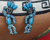 Vintage Southwestern Kachina Earrings, Faux Turquoise Dancer Folk Art Jewelry