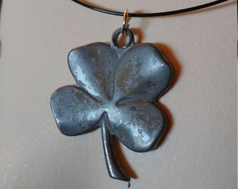 Vintage Shamrock Necklace // Pewter Shamrock Neck Ring // Silver Clover Necklace // St Patrick's Day Jewelry // Good Luck Charm