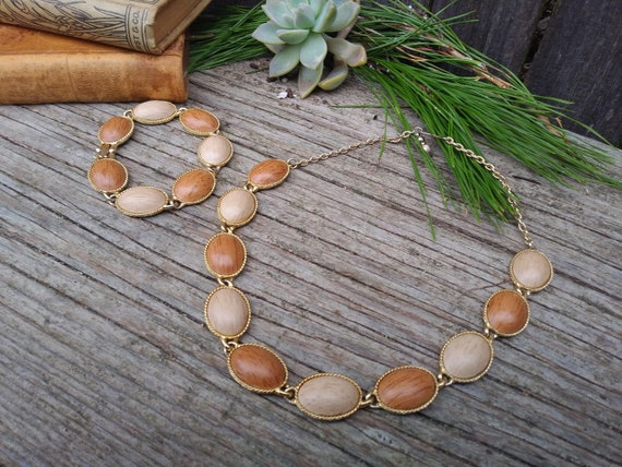 Mid Century Mid Jewelry Set, 60's Faux Wood Bead N