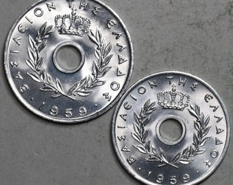 1959 Greece 10 Lepta and 20 Lepta Type Set two Choice Unciruclated Coins (18042506RE)