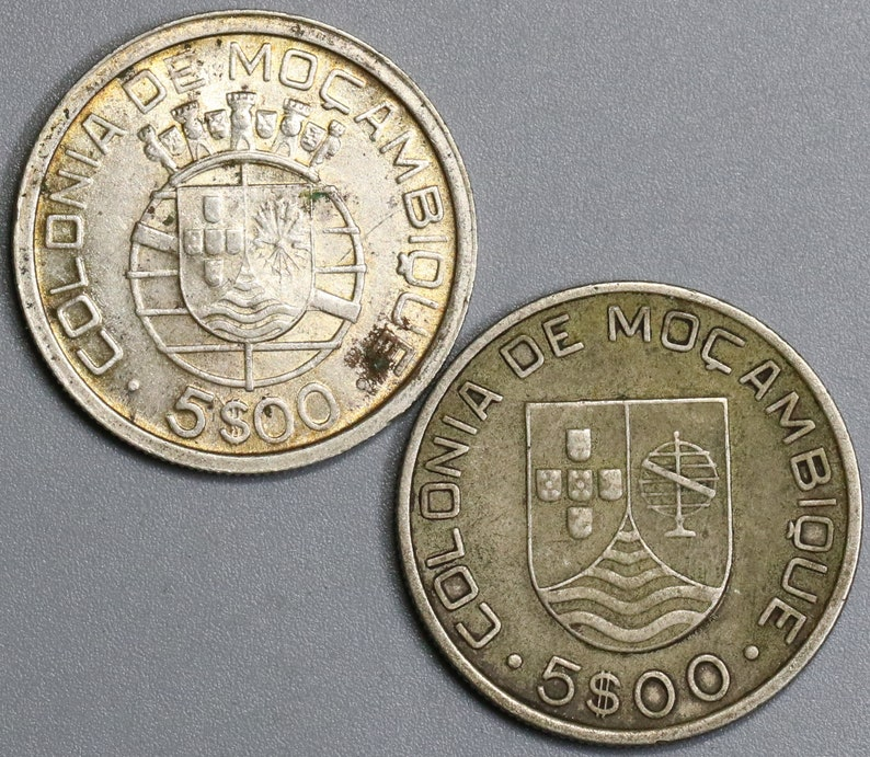 1935 1949 Mozambique Silver 5 Escudos Type Set Two Portugal Africa Colony  Coins (18060207RE)