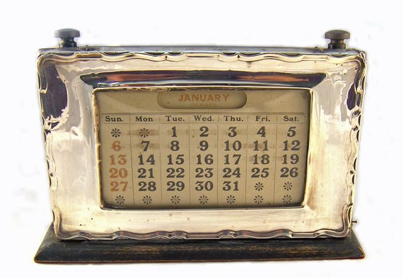 Antique Sterling Silver Vintage Perpetual Desk Calendar Etsy