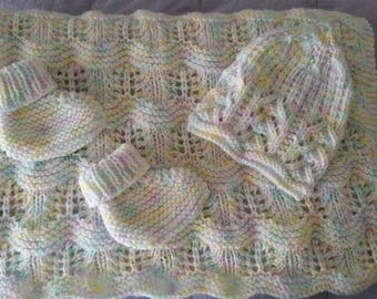 Multi Pastel Baby Blanket with Matching Hat and Booties