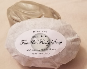 Aqua Di Gio Handmade Soap with Oatmeal, Milk, and Honey, 6 oz.