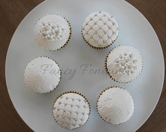 Fondant  Elegant Wedding, Engagement. Party Cupcake Toppers