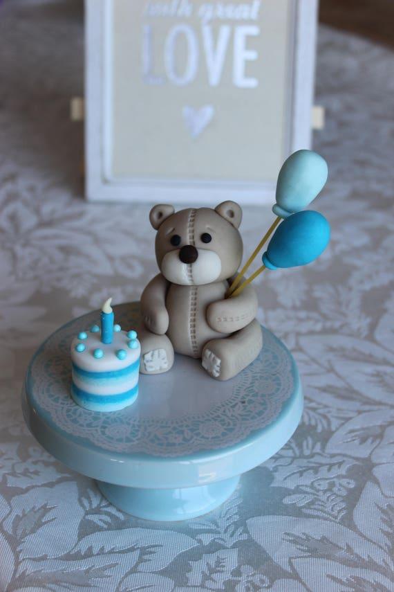 Fondant Teddy Bear With Balloons Birthday Cake Topper