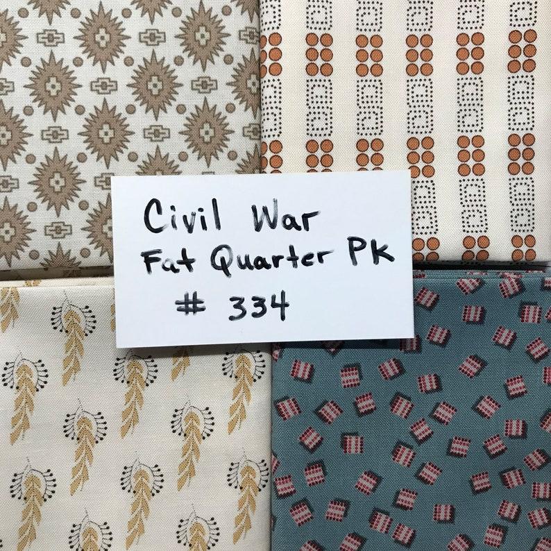 Fabric Civil War Assorted Fat Quarters 18 x 22 Pack 4 Prints #334