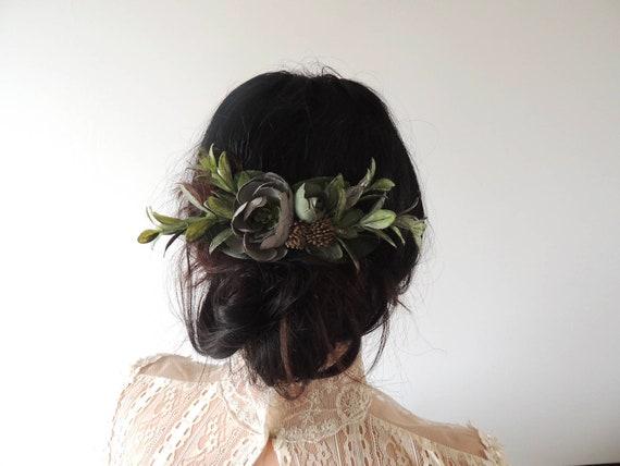 Vintage Style Headband Hair Piece Leather Hair Flower Flower Clip Boho Hair Clip Boho Style Hair Flower Brooch Reclaimed Leather