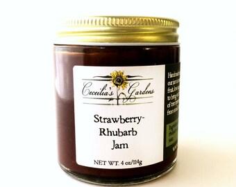 Strawberry Rhubarb Jam, Gourmet Gift, Cecelia's Gardens