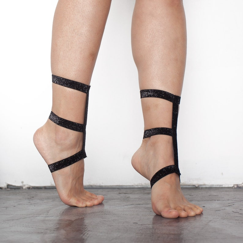 162201346 Sparkle Footsies-Glitter Barefoot Sandals Heel wraps By