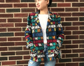 Guatamalan Aztec Rainbow Blazer Jacket