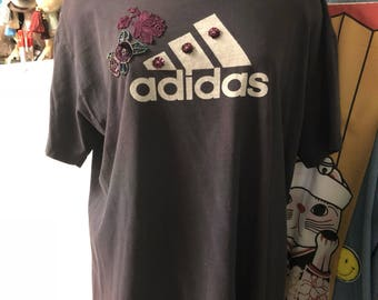 Charcoal Embellished Lace Floral Addidas T Shirt