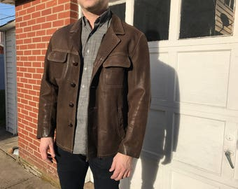 Brown Leather Jacket Size Large