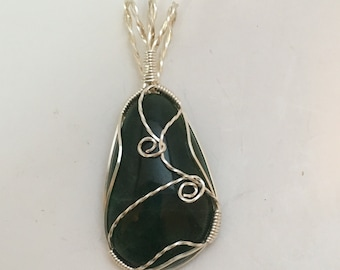 Wyoming Nephrite Jade  - Deep Green with Silver Wire-wrapped Pendant