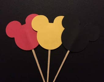 Mickey Mouse Cupcake Toppers - Mickey Mouse Birthday, Mickey Food Pick, Mickey Mouse Party, kids birthday