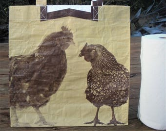 Recycled Feed Bag Tote, reusable tote bag, grocery tote, recycled shopping bag, reusable grocery bag, recycled tote bag, Payback chickens