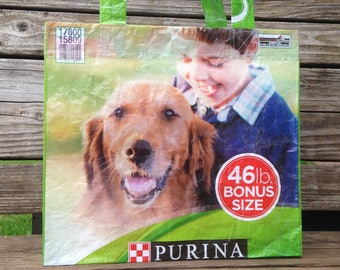 Recycled Feed Bag Tote, reusable tote bag, grocery tote, recycled shopping bag, reusable grocery bag, recycled tote bag, dog, purina, boy