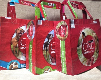 Recycled Feed Bag Tote, reusable tote bag, grocery tote, recycled shopping bag, reusable grocery bag, recycled tote bag, dog, Purina One