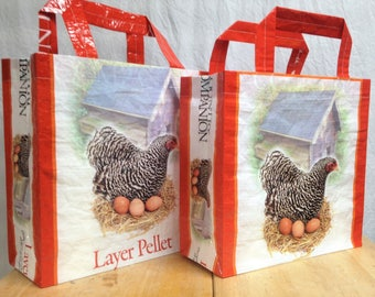 Recycled Feed Bag Tote, reusable tote bag, grocery tote, recycled shopping bag, reusable grocery bag, recycled tote bag, chickens