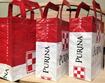 Recycled Feed Bag Tote, reusable tote bag, grocery tote, recycled shopping bag, reusable grocery bag, recycled tote bag, Purina red & white