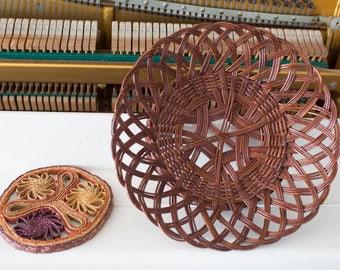 Vintage wicker basket and woven trivet