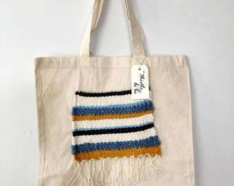 Tote with Woven Blue Pocket
