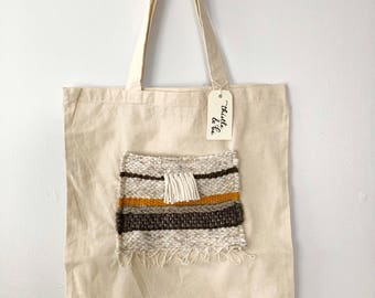 Tote with Woven Neutral Pocket