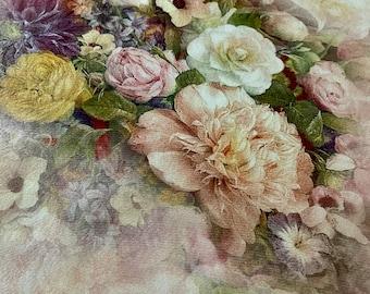 100% Mulberry Silk Georgette Chiffon Scarf ~ Floral on Peach ~ 65x200cm